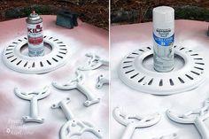 Update Your Ceiling Fan with Paint Repainting a ceiling fan -- step-by-step photo tutorial, suggestions on products Ceiling Fan Redo, Painting Ceiling Fans, Ceiling Fan Makeover, Ceiling Fan Blades, Paint Ceiling, Bedroom Ceiling, Spray Paint Fan, Painted Fan, Diy Fan