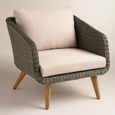 front porch-Gray All Weather Wicker Minorca Chair