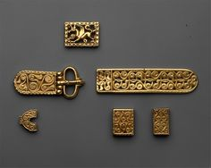 (Avar) Avar or Byzantine Gold Belt fittings. Found in Vrap, Eastern Albania. Heilbrunn Timeline of Art History. The Metropolitan Museum of Art. Renaissance Jewelry, Medieval Jewelry, Ancient Jewelry, Medieval Belt, Byzantine Gold, Early Middle Ages, Gold Belts, Ancient Artifacts, Viking Age