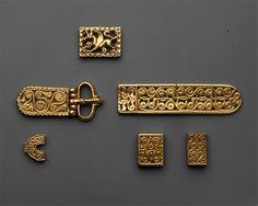 Gold Slide for a Belt or Strap Date: 700s Culture: Avar Medium: Gold Dimensions: 1 5/16 × 3/4 × 3/8 in., 0.9 Troy Ounces (3.3 × 1.9 × 0.9 cm, 28g)