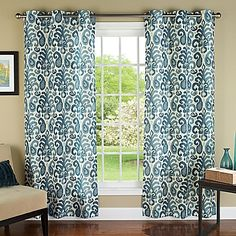 m.style Ikat Plume 84-Inch Grommet Top Window Curtain Panel Pair in Teal/Silver