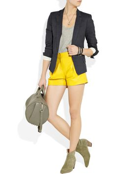 Yellow leather shorts. Oh how I wish I could wear you yellow.