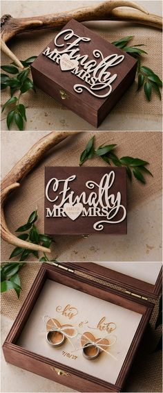 Rustic laser cut wedding ring box