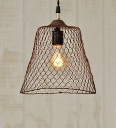 Hanging Industrial Light  Vintage Metal Wire by TinkerLighting, $85.00