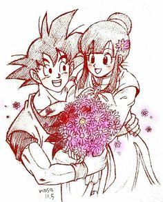 Goku e Chichi Dragon Ball Z, Milk Y Goku, Goku Y Chichi, Dbz Drawings, Z Warriors, Broly Movie, Vegeta And Bulma, Dbz Characters, Son Goku
