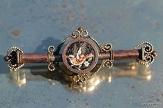 Antique Gold Filled Victorian Micro Mosaic Song Bird Bar Pin Brooch