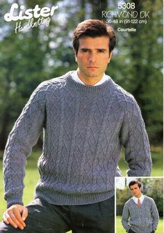 506e835f74dfae mens sweater knitting pattern pdf DK mens cable rib jumper crew or v neck  vintage 36-48 inch DK light worsted 8ply Instant download
