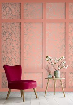 New wallpaper design bedroom mirror ideas Coral Wallpaper, Trendy Wallpaper, New Wallpaper, Pink Home Decor, Interior Decorating, Interior Design, Cottage Interiors, Bedroom Decor, Design Bedroom