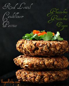 Red Lentil Cauliflower Burger Patties.  I'm definitely trying this recipe! Looks so easy and yummy!