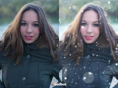 Create a beautiful portrait with snow effects in Photoshop. Free tutorial.  Disponible en español