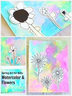 Flower Drawings Using Markers on Watercolor Backgrounds (Spring Art Project for Kids)~ BuggyandBuddy.com