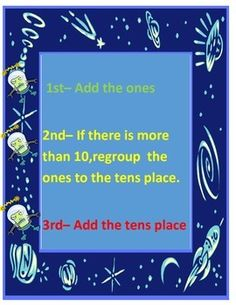 This board is a great support to help students remember to carry their tens place in two digit addition with regrouping.   This also includes a poster to remind students the steps of two digit addition and a scoot game to practice their double digit addition with regrouping facts.