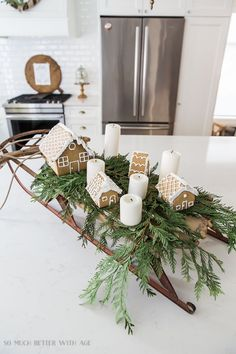 This French Vintage kitchen Christmas tour is just gorgeous with gingerbread houses on a vintage sled and many natural and rustic touches. Christmas Kitchen, Christmas Home, Vintage Christmas, Christmas Holidays, Christmas Crafts, Christmas Vignette, Christmas Ideas, Christmas 2019, Country Christmas