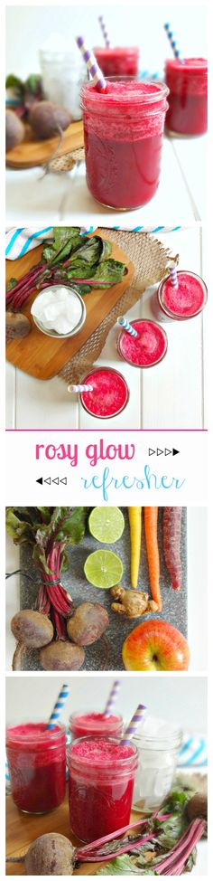 The 'Rosy Glow Refresher' Juice - invigorating, energizing, cleansing and detoxifying - this thirst quenching juice is perfect for a healthy glow!