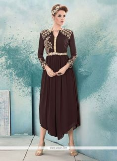 Sonorous Embroidered Work Brown Georgette Party Wear Kurti Model: YOKU419