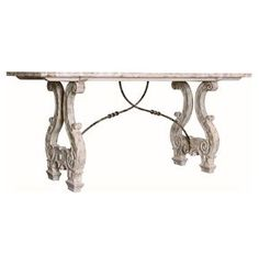 """YES!! - SPECIFICATIONS 34"""" H x 76"""" W x 30"""" D. Constructed from wood and metal. Finished in antique white. Hand distressed finish. Table legs feature curved, ornate carving. Part of theFRENCH COUNTRY Collection - The ornate carving on this antiqued, white washed table lend it an authentic European look while the sweeping metal detailing and graceful curves give it historical whimsy. Place this console in your entryway for a stunning first impression or use as a beautiful media center."""