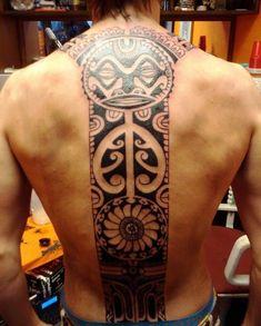 Full Spine Polynesian Aztec Tattoo