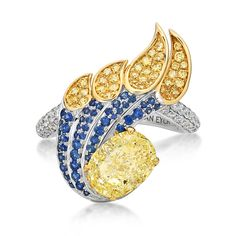 Van Eyck Magnificent Riflebird ring featuring white diamonds, sapphires and a 2.04-carat yellow diamond, $100,000