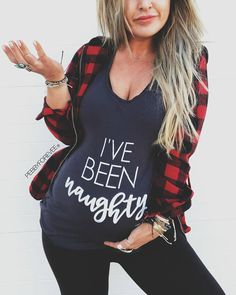 Christmas Maternity Shirt | This funny pregnancy shirt is perfect for the holiday season! I've Been Naughty is cute with some major Christmas vibes. Perfect gift idea for a pregnant friend or family member---or for yourself if you want to keep things festive all winter long. #Affiliate