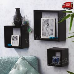 ThisWall Shelving System is an attractive way to display favorite trinkets, memorabilia, framed photos, and more. Shelves are made of MDF wood. Create your own style on your wall with this modernWall Shelving System.