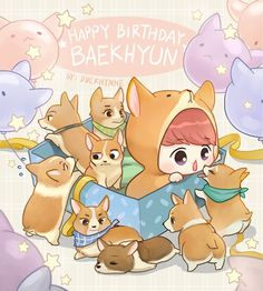 Happy Birthday Baekhyun by duckhymne on FanBook Chanbaek Fanart, Baekhyun Fanart, Kpop Fanart, Chanyeol, Kaisoo, Exo Cartoon, Tumblr Cartoon, K Pop, Exo Anime