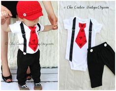 Mickey Mouse Birthday Tie and Suspenders Bodysuit & Black Pants w White Buttons SET.  Baby Boy First Birthday Party Disney Style Clothing