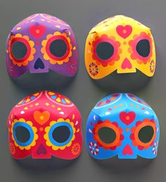 How to make calavera masks for Day of the Dead. Free printable templates - 7 color ways! https://happythought.co.uk/day-of-the-dead/mask-craft-calavera-templates  #dayofthedead #calaveras #eldiadelosmuertos