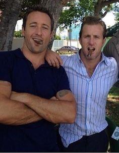 I love my Hawaii Five-O guys -Steve (Alex O'Loughlin) & Danny (Scott Caan) Alex O'loughlin, Alex Scott, Scott Caan, Hawaii Five O, Grace Park, Cigar Men, Steve Mc, Man Smoking, Cinema