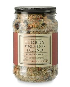 Knock-off Recipe for Willaims Sonoma Apple & Spices Turkey Brine  INGREDIENTS Sea salt, apples, juniper berries, lemon peel, star anise, garlic, rosemary, thyme, black pepper, onion, bay leaf, Spanish rosemary, plus large black tellicherry, sweet Indian green and Madagascar pink peppercorns.