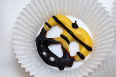 Bumble bee chocolate covered pretzels yellow black - 2 dozen in box - Valentine's Day Bee Mine. $21.99, via Etsy.