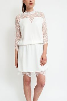 Reinvigorate cocktail hour with this stunning white dress. Finished with beautiful unlined lace and back cleavage to allow subtle pops of skin. Team yours with statement heels for a knockout evening look. By Neo Noir.        Available at Sienna & Lois.