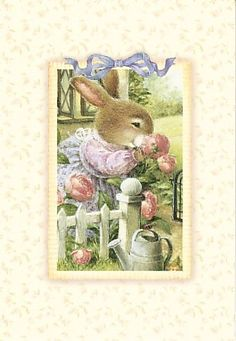 Holly Pond Hill Bunny Rabbit Pink Flower Thinking Of You Greeting Card Wheeler | eBay