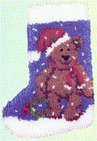 """Teddy Stocking 12""""x17"""" kit comes complete with easy to follow full color chart, how to instructions 3.3 mesh latch hook canvas, pre-cut yarn is 2 x 3 ply acrylic rug yarn (equivalent to 6 ply) and complete instructions."""