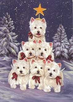 West Highland Terrier Westie Family Tree by Suzanne Renaud West Highland Terrier, Highlands Terrier, Christmas Scenes, Christmas Time, Christmas Crafts, Christmas Decorations, Christmas Puppy, Christmas Animals, Westies