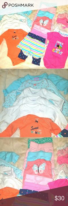 Girls 20 Piece Newborn Bundle Carter's, Gerber Garnanimals. 6 long sleeve onesies, 7 pants, 5 short sleeve  onesies, 1 pair of shorts and 1 tank onesie. Can be separated if needed. Reasonable offers will be accepted or countered. Carter's One Pieces