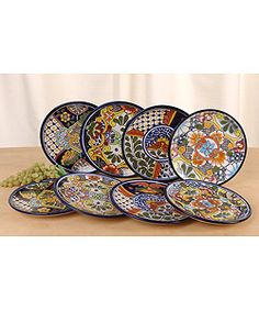 @Overstock - Grace your table with a touch of Mexican decoration with this set of eight salad plates.  Handmade in Mexico Various elaborate designs with color schemes of olive green, golden yellow