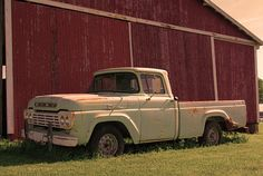Vintage Ford Pick Up and Country Barn Sepia coloration 8x12