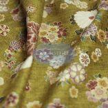 Tissus Japonais vintage fleuri fond jaune