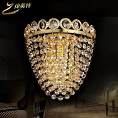 31.50$  Watch now - http://aimu9.worlditems.win/all/product.php?id=32610240730 - The golden crystal lamp wall lamp LED creative living room bedroom modern minimalist aisle bedside lamp