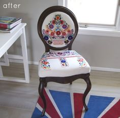 using a beautiful embroidered mexican dress to upholster this old chair, with fantastic results.