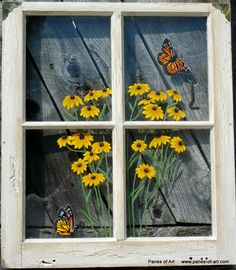 The Creative of Painting On Old Windows Ideas Ideas with Panes Of Art Barn Quilts Hand Painted Windows Window Art 10635 above is one of pictures of home de Old Windows Painted, Painted Window Panes, Old Barn Windows, Antique Windows, Vintage Windows, Antique Doors, Antique Glass, Old Window Art, Window Frame Art