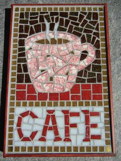 Mosaic Cafe sign with coffee cup by MosaicMarie on Etsy, $110.00