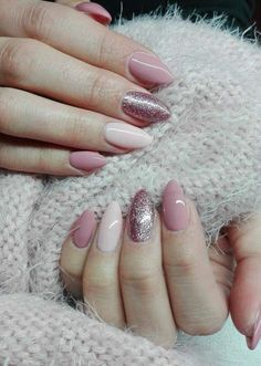Pink and glitter and light pink and nude acrylic nails