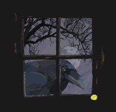oiseau (corbeau dans la fenêtre) - Arts numériques ©2015 par Robert Breton Art…