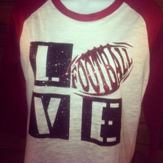 Custom Football shirt Raglan 3 4th sleeve burnout on Etsy, $28.00
