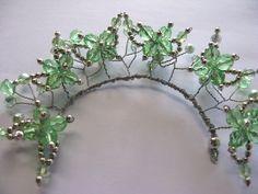Bun Buddy Flower Garden Mint Buy Dance tiaras, Swarovski crystal beaded headpieces for ballet dancers