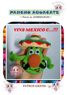 Monica Benedetti Yoshi, Crochet Hats, Christmas Ornaments, Knitting, Holiday Decor, Fictional Characters, Viva Mexico, Free Pattern, Crocheting