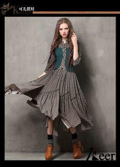 Одежда : Длинное платье комбинированной расцветки в стиле бохо с имитацией жилетки