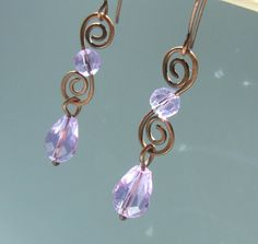 Purple rustic dangle earrings antiqued copper wire wrapped jewelry. $21.00, via Etsy.
