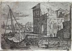 View of the Harbour of Messina showing warehouses an small boats under covers (14) -  	Casembrot, Abraham